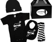 Punk Rock Baby Boy Rockstar Kit black creeper onesie leg warmers hat Bib leg warmers Mom & Dad Heart Tatoo