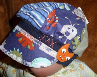 Toddler sized Jax Hat for the little monster made from upcycled fabrics and handmade monster button - photos by Heatherbee
