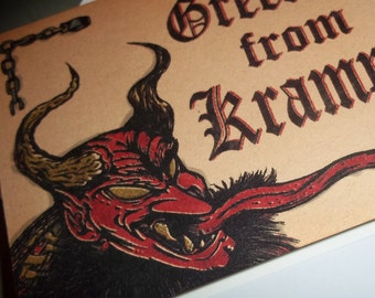 Greetings From Krampus Evil Christmas Greeting Card Horror Show 5x7 Blank inside by Agorables Freakmas 4 the Season