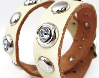 Cream Leather Dog Collar with Giant Rhinestones and Studs, Size L, to fit a 18-21 Neck