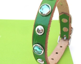 Leather Dog Collar in Bright Green with Sparkles and Studs, Size S, to fit a 10-13in Neck, EcoFriendly