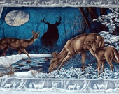 Quilt, Wallhanging Fabric  Panel with Deer and Fawns