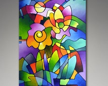 Canvas giclee print from my original abstract floral geometric painting, cubism, geometry, blooms, garden, flowers