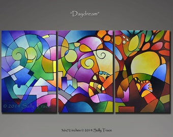 Giclee prints on canvas from my original abstract painting, Daydream, three stretched canvas prints, 36x72 inches