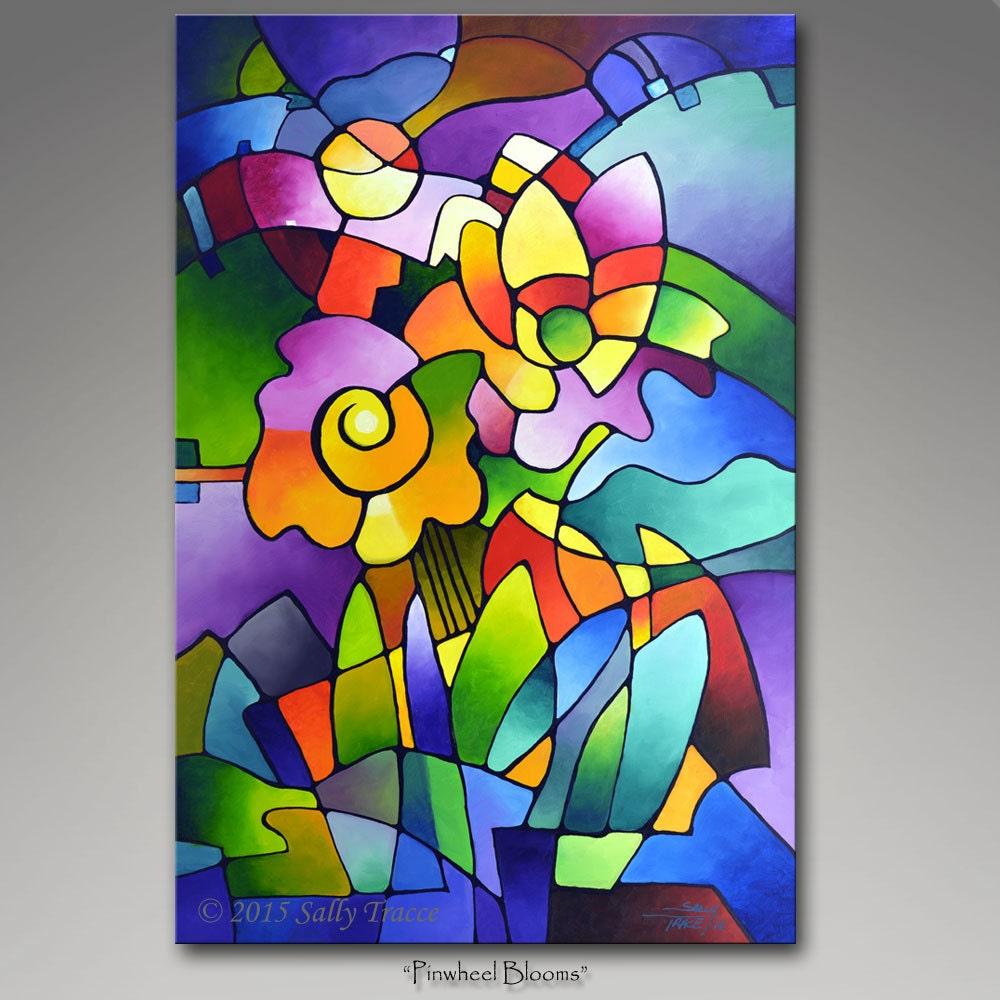 Giclee art print from my cubist painting canvas giclee print for Poster contemporain