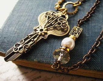 Key Necklace, Vintage Victorian, Filigree Wrap Key, Rhinestone Chain, Floral Brass Bead, Swarovski Pearl, Crystal Rondelle, candies64