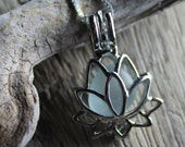 Faux Sea Glass, Sea Glass Necklace - Lotus Flower Locket - PEACE