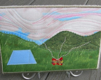 Camping Trip - Blue Tent - Campfire - Handmade Fabric Postcard - Quilted Greeting Card -  Landscape Art -  Summer Vacation - Mountain Art