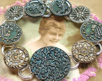 "Antique BUTTON bracelet, Victorian Butterfly & flowers, 7.5"" jewellery."