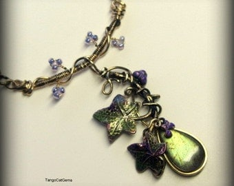 Labradorite  and Ivy   hand painted necklace