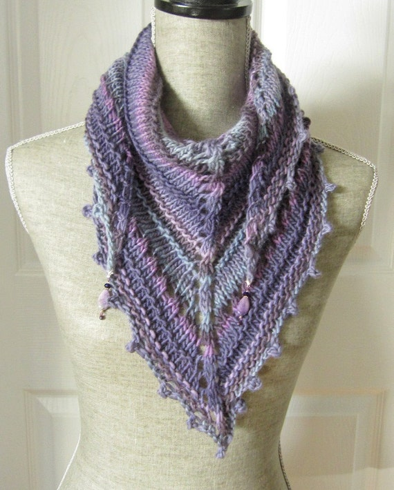 Handknit Women Triangle Scarf Shawl Style Neckwrap with Bead Dangles - Lavender