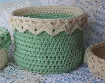 Lace Basket Pattern - Crochet Pattern for Large Basket with Drop Over Lace - Organizing Basket Pattern - No. 84