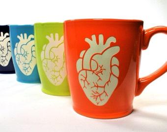 Anatomical Heart Mug - anatomically correct coffee cup - Choose Your Color
