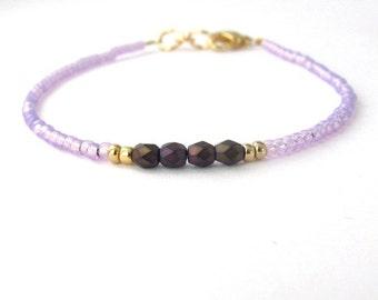 Purple Friendship Bracelet, Seed Bead Bracelet, Friendship Bracelet, Bridesmaid Gift, Minimal Bracelet, Beaded Bracelet, Amethyst Purple