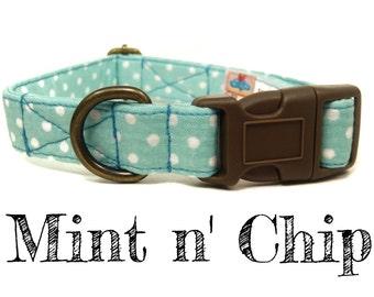"Mint White Polka Dot Dog Collar - Organic Cotton - Antique Brass Hardware - ""Mint n' Chip"""