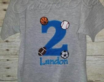 Sports Birthday Baseball Football Soccer Basketball bodysuit T-shirt Embroidered Childrens Size Toddler Infant