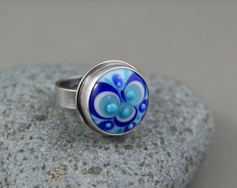 EC..Cosmic....Lampwork sterling silver ring