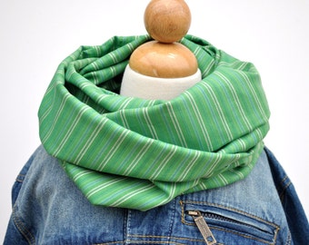 Green Cotton Striped Infnity Scarf - Kelly Green Scarf