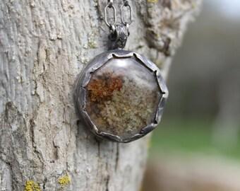 secret forest window oxidized sterling garden lodolite garden quartz pendant talisman amulet necklace