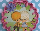 Recycled Vintage Book Illustration - Groovy Couple - Crochet Ornament / Bookmark