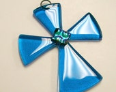 Cross Fused Glass Sun Catcher- Turquoise