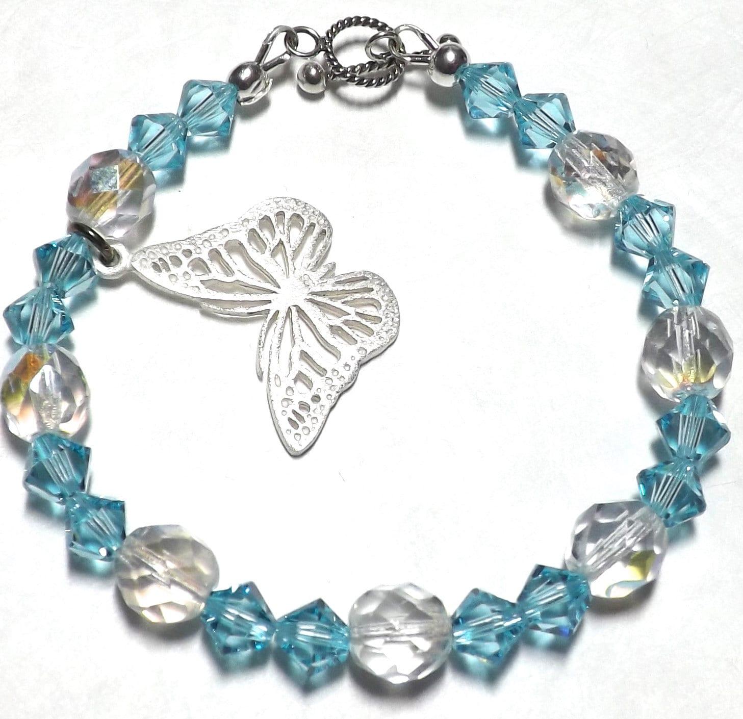silver butterfly bracelet swarovski bracelet by eclecticdesigns. Black Bedroom Furniture Sets. Home Design Ideas