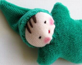 emerald green, germandolls, Waldorf pocket doll, gnome baby, Steiner doll, gift for children, party favor