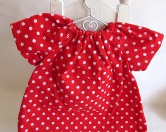 red polka dots, Waldorf doll clothes, 10 - 12 inch dress, germandolls, doll nightgown, gift for girl
