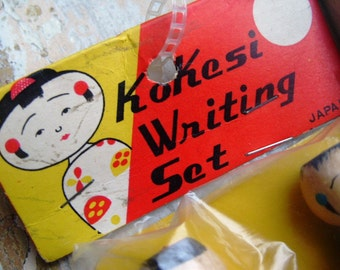 Vintage Kawaii Kokeshi Writing Set Japan Never Removed From Package