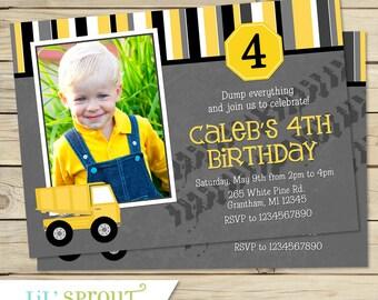 Dump Truck Birthday Invitation, Construction Printable Birthday Invitation, Construction Invitation, Dump Truck Printable Invitation