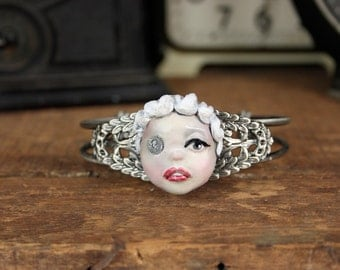 Cameo Steampunk Pop Surrealism Handsculpted Bracelet