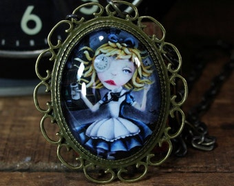 Steampunk Pop Surrealism Lowbrow Alice In Wonderland Print Necklace