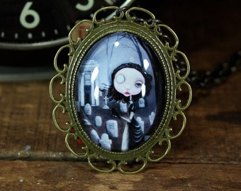 Steampunk Pop Surrealism Lowbrow Victorian Mourning Cemetary Girl Necklace