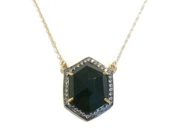 Black onyx pendant with pave white topaz bezel gold necklace, Perfect gift for her!