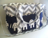 Extra Large Chevron Diaper bag Made of Gray and White Chevron with Navy Blue Elephant Fabric / Elastic Pockets - Diaper Bag