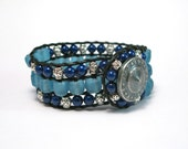 Blue Glass and Lapis Beaded Leather Cuff Bracelet - The Babisha