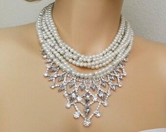 Wedding Jewelry Set, Back Drop Bridal Necklace Earrings Set, Pearl Jewelry Set, Bridal Necklace Set, Crystal Jewelry Set, Rhinestone Jewelry