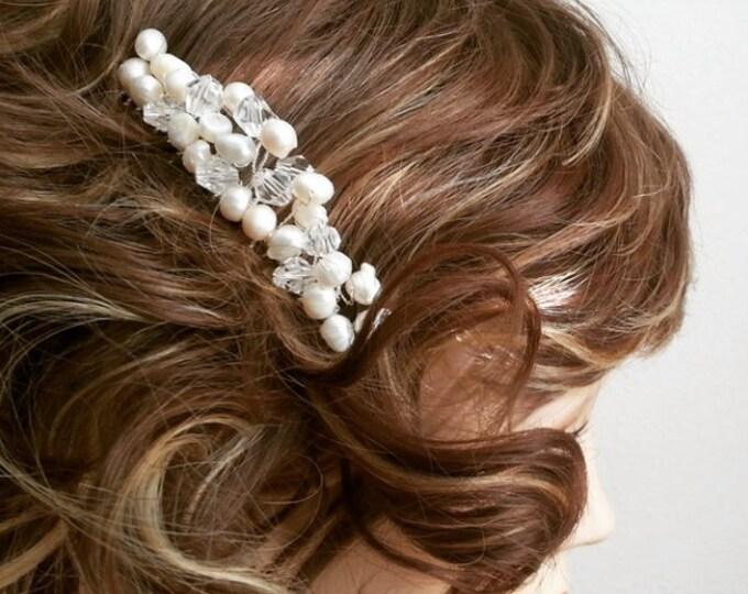 Freshwater Pearl Hair Comb Pearl Crystal Wedding Comb Freshwater Pearl Bridal Comb Ivory Bridal Hair Comb Bridal Head Piece Blush Pink