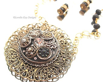 Antique Button Necklace Filigree Victorian Unique Button Jewelry Matching Earring Necklace Set