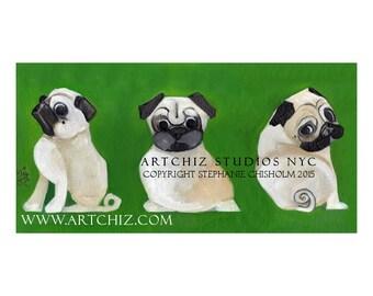 Pug Art. Dog Art. Pug Illustration. Print. Forest Green. Pug Portrait. Pugnation. Signed by the Artist - 3 Sides of a Pug