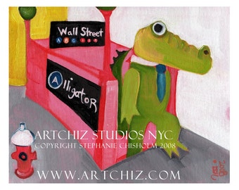 A for Alligator. Illustration. NYC Alligator at Wall Street Subway. Mascot NCAA Division 1.  U of Florida. U of New Orleans. Poster