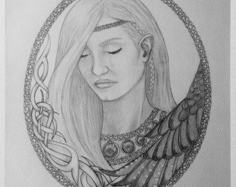 Limited edition paper: Freyja's Sorrow black and white print