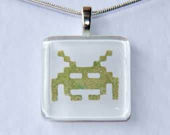 Handmade Glass Tile Retro Green Space Invaders Pendant
