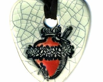 Heart with Dagger Ceramic Necklace in Crackle
