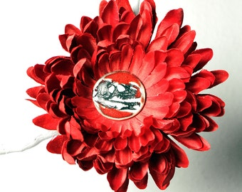 Dinosaur Flower Hair Clip in RED