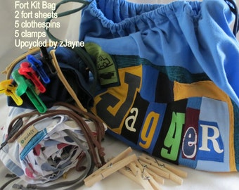 Upcycled FORT Kit Drawstring Bag SET Personalized ONE Bag Two Sheets Five Clothespins Five Clamps