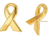 14k yellow gold plate ribbon / awareness stud post earrings. sterling silver posts. On sale.