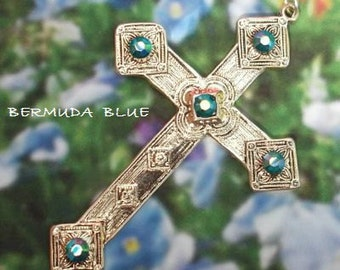Pewter Cross Pendant, available in two color Swarovski crystals: Aurora Borealis or Bermuda Blue (free 18-inch silver-plated chain included)