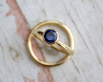 Blue Sapphire Engagement Ring Set, Sapphire Bridal Set, Sapphire Wedding Ring Set, Bridal Jewelry, Diamond Alternative, Gold Ring Set