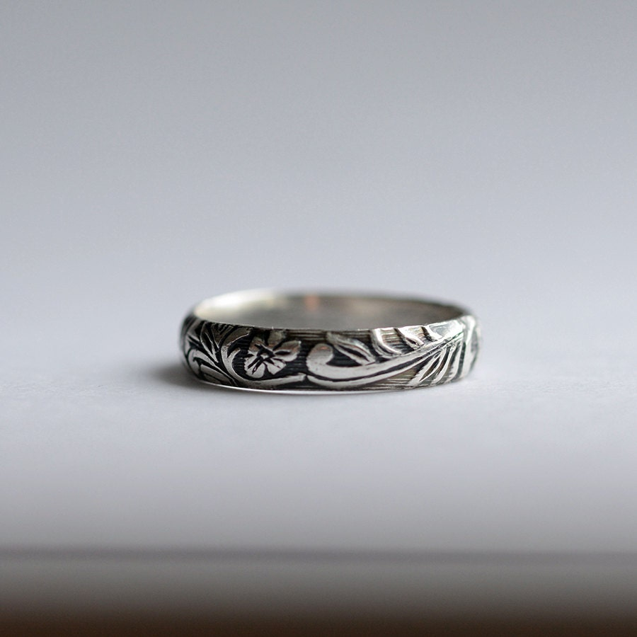 Silver Wedding Band Patterned Ring Womens Wedding Band